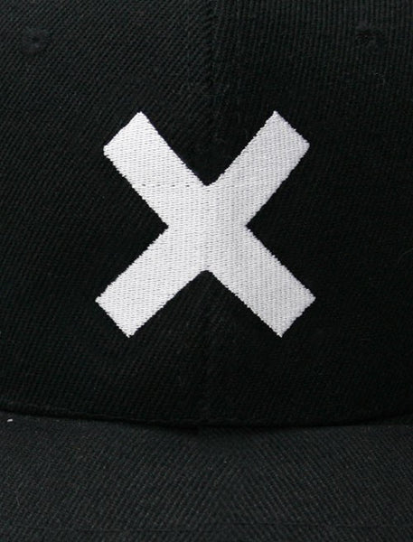 WHITE X EMBROIDERED BLACK CAP