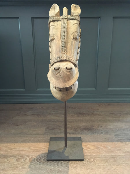 Carved Wood Horse Head Sculpture