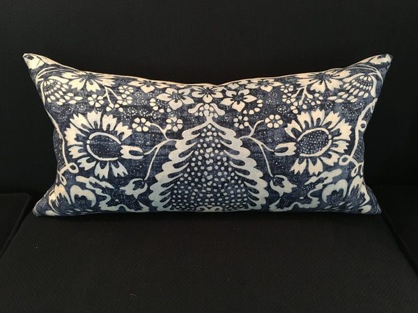 Custom La Garoupe Indigo Lumbar Pillow