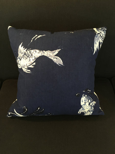 Custom Koi Indigo Pillow
