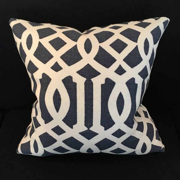 Custom Imperial Trellis II Navy Pillow