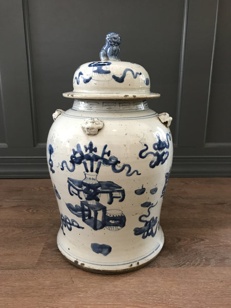 Blue and White Foo Dog Jar