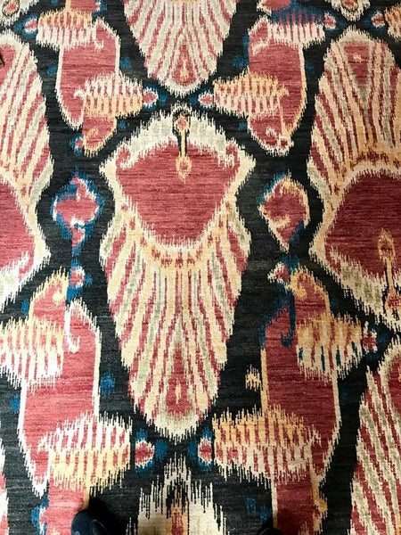Ikat Hand-Knotted Rug 9'x12'