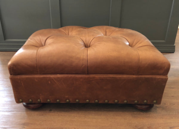 Ralph Lauren Home Writer's Ottoman in Distressed Leather