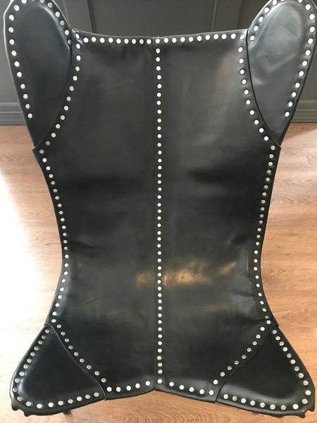 Ralph Lauren Home New Safari Camp Chair in Black Leather