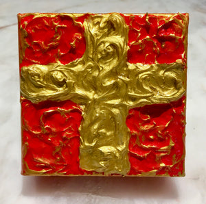 "Red and Gold Textured Cross 4"" x 4"""