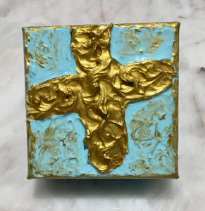 "Blue and Gold Cross Painting -  Textured 4"" x 4"""