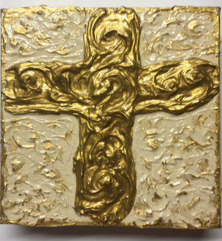 Gold Cross Original Painting by Christy L. Treat
