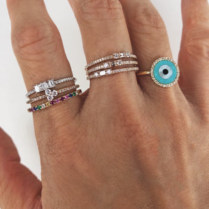 Round Evil Eye Ring White Gold