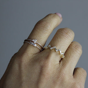 Five Baguette Diamond Ring Yellow Gold