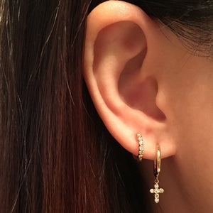 Diamond Cross Hoop Earrings Yellow Gold