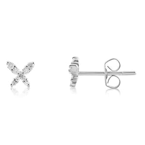 Mini Diamond Butterfly Earrings White Gold