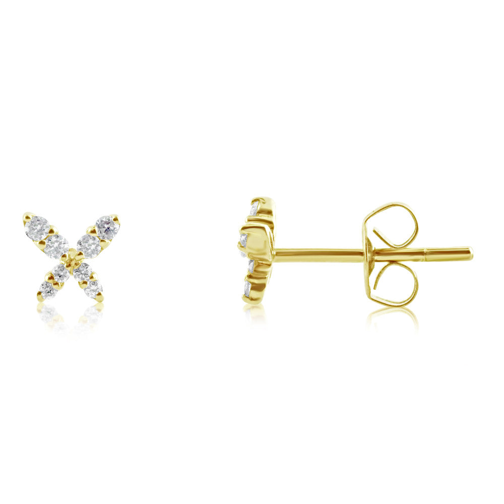Mini Diamond Butterfly Earrings Yellow Gold