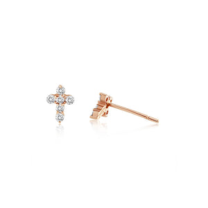 Diamond Cross Earrings Rose Gold