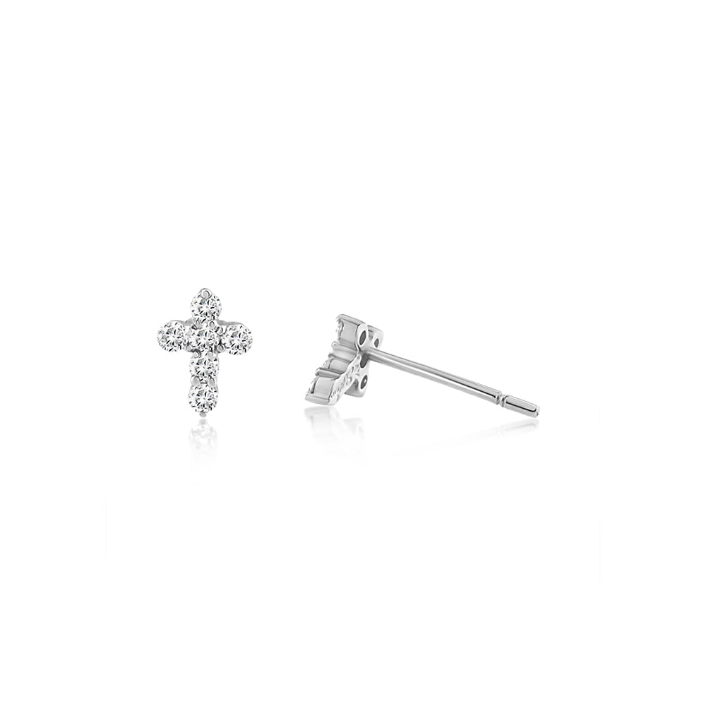 Diamond Cross Earrings White Gold