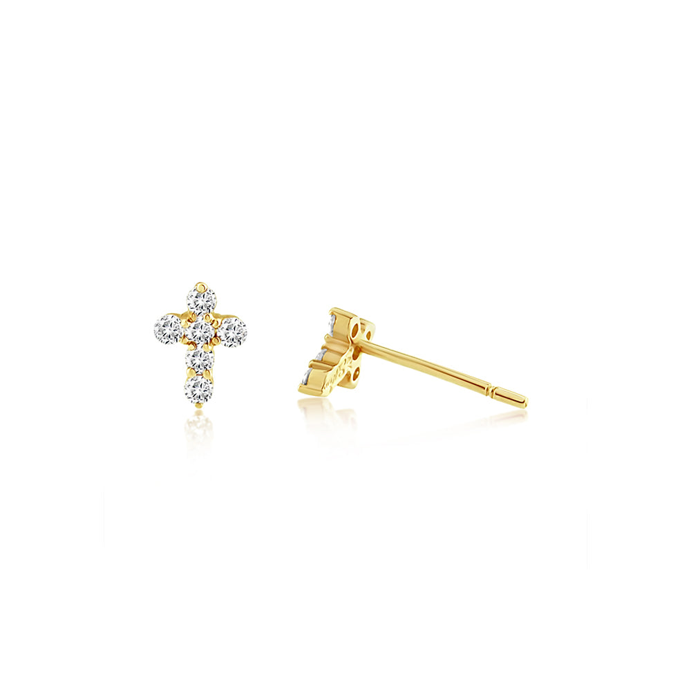 Diamond Cross Earrings Yellow Gold