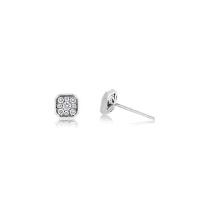 Diamond Asscher Stud Earrings White Gold