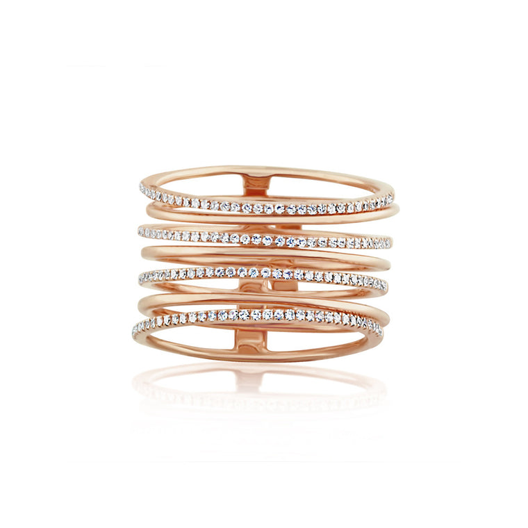 Diamond and Gold Stack Ring Rose Gold