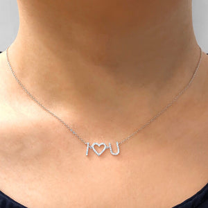 I Heart U Diamond Necklace Rose Gold