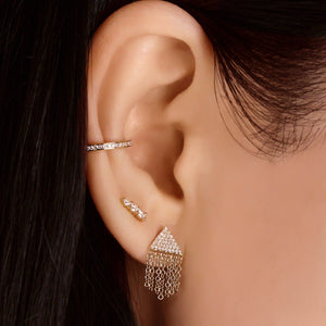 Three Diamond Graduated Bar Earrings White Gold
