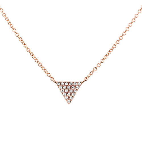 Small Diamond Triangle Necklace Rose Gold