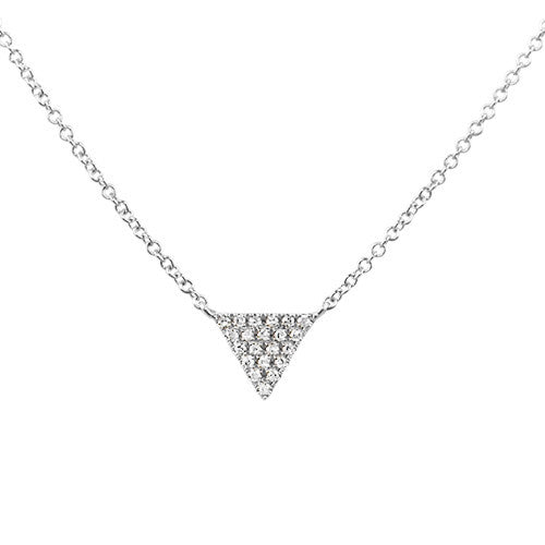 Small Diamond Triangle Necklace White Gold