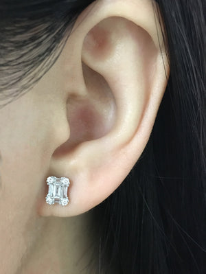 Diamond Emerald Shape Earrings White Gold