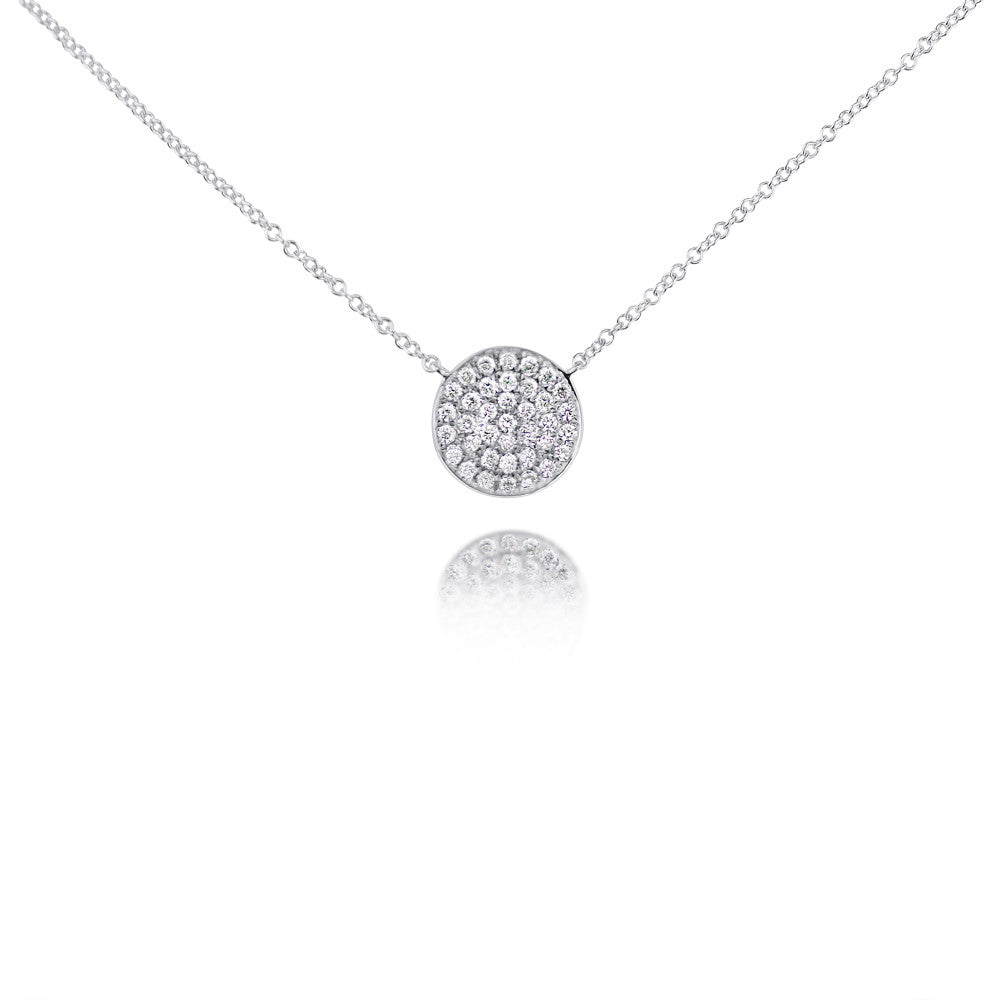 Diamond Curved Disc Necklace White Gold
