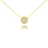 Diamond Curved Disc Necklace Yellow Gold