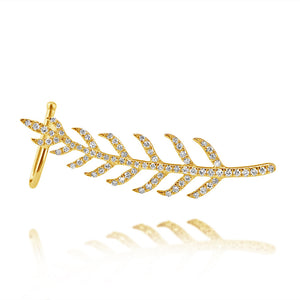Diamond Feather Ear Crawler Yellow Gold