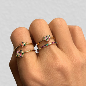 Rainbow Disc Ring White Gold