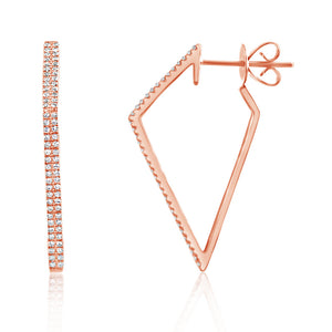 Diamond Geometric Hoop Earrings Rose Gold