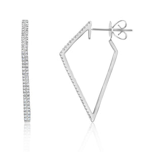 Diamond Geometric Hoop Earrings White Gold
