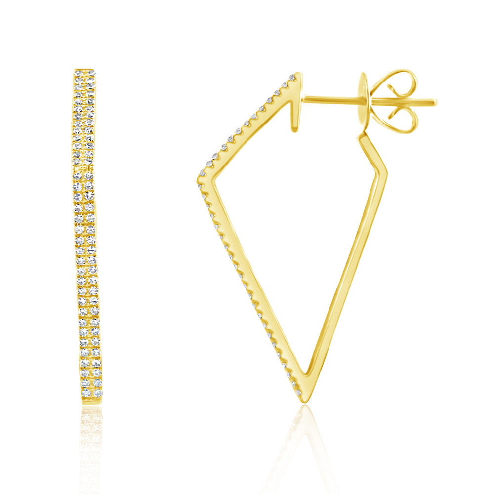 Diamond Geometric Hoop Earrings Yellow Gold