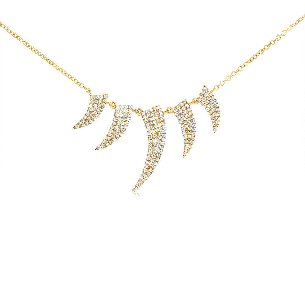 Diamond Five Horn Necklace Yellow Gold