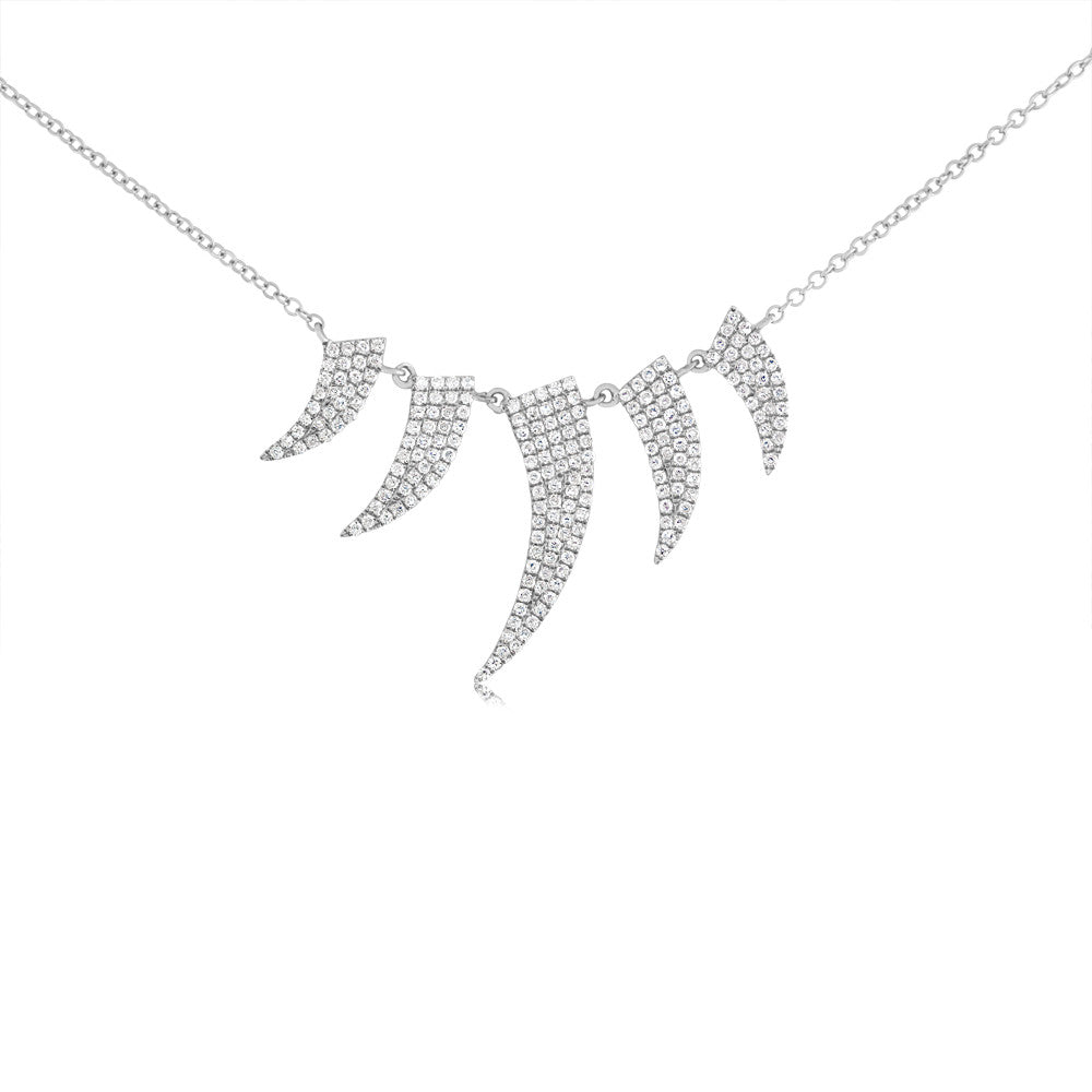 Diamond Five Horn Necklace White Gold