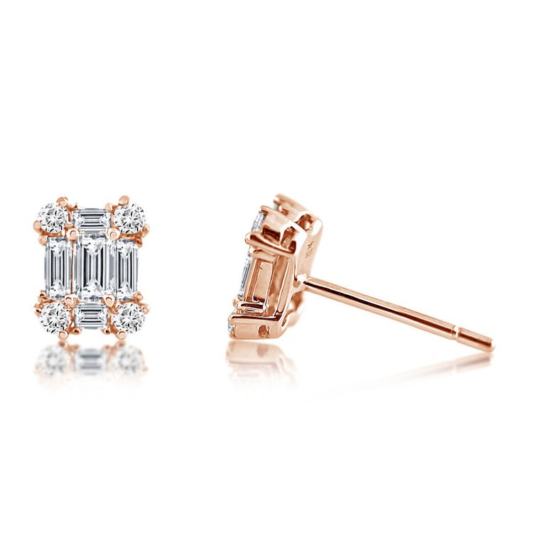 Diamond Emerald Shape Earrings Rose Gold