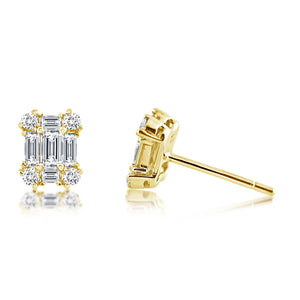 Diamond Emerald Shape Earrings Yellow Gold