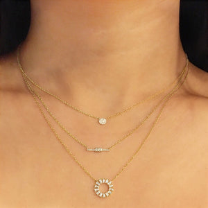 Baguette and Round Diamond Bar Necklace Rose Gold