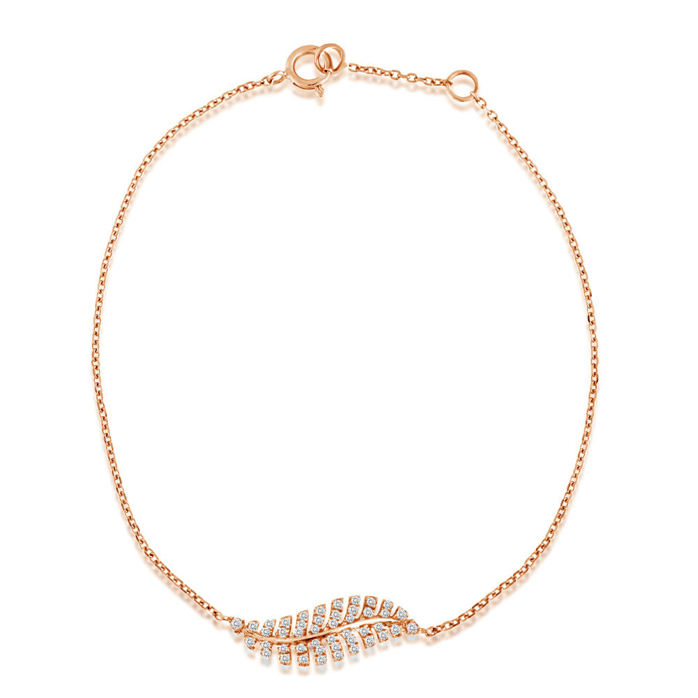Diamond Feather Bracelet Rose Gold