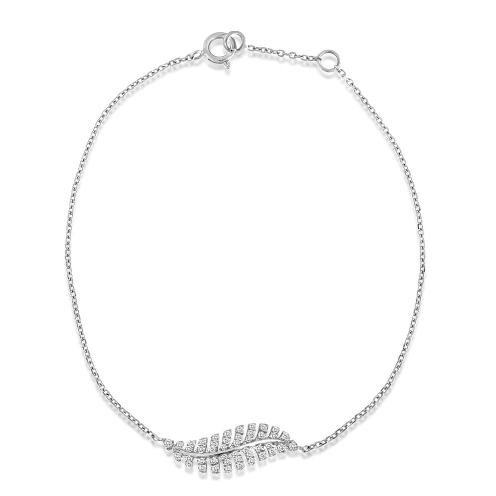 Diamond Feather Bracelet White Gold