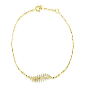 Diamond Feather Bracelet Yellow Gold