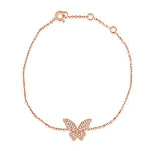 Diamond Butterfly Bracelet Rose Gold