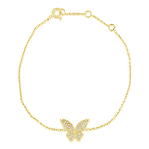 Diamond Butterfly Bracelet Yellow Gold