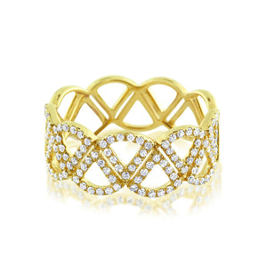 Diamond Triangle Band Ring Yellow Gold