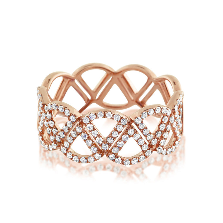 Diamond Triangle Band Ring Rose Gold