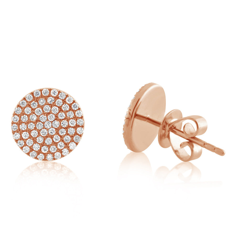 Diamond Disc Earrings Rose Gold