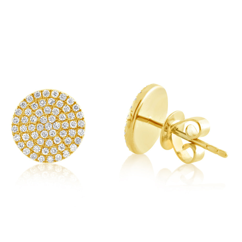 Diamond Disc Earrings Yellow Gold