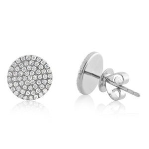 Diamond Disc Earrings White Gold