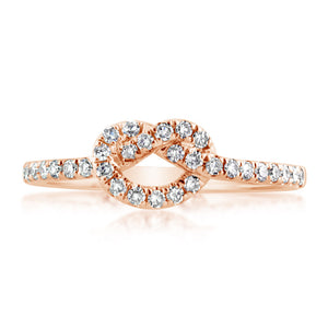 Diamond Love Knot Ring Rose Gold